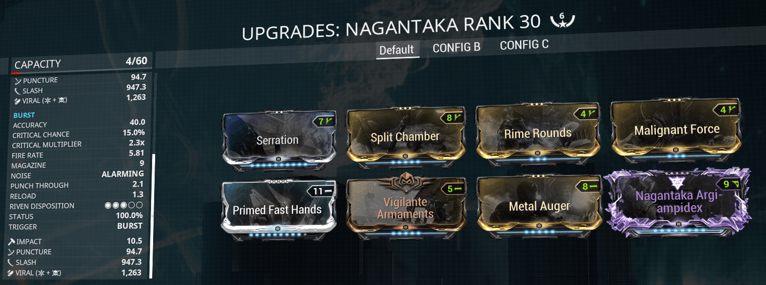 Nagantaka, Siren Watcher, sirenwatcher, warframe, warframe weapon builds, weapon builds, weapons