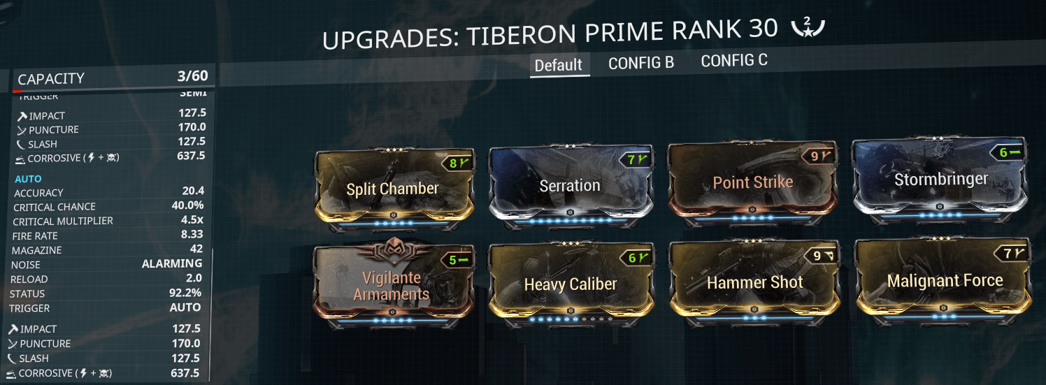Tiberon, Siren Watcher, sirenwatcher, warframe, warframe weapon builds, weapon builds, weapons